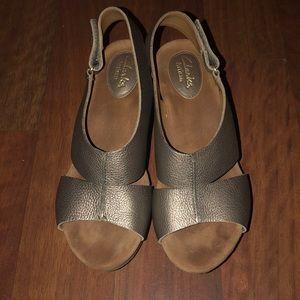 Clark Artisan Cork Wedge Sandal 8M